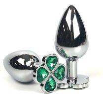 Серебристая анальная втулка с клевером из зеленых кристаллов - 9 см., цвет зеленый - Vandersex