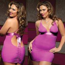 Сорочка на тонких бретелях с трусиками-стринг, цвет розовый, XL-2XL - Seven`til Midnight