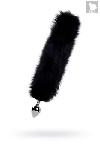 Большая серебристая металлическая анальная втулка с черным лисьим хвостом, цвет черный - Wild Lust
