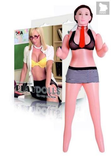 Надувная секс-кукла с реалистичной головой в костюме учительницы - Toyfa
