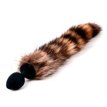 Анальная пробка Silicone Striped Tail - Black с хвостом - Luxurious Tail