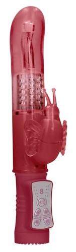 Красный вибратор-кролик Rotating Butterfly - 22,8 см., цвет красный - Shots Media