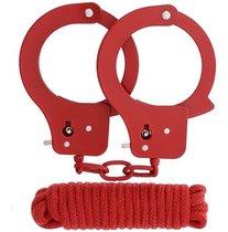 Красные наручники из листового металла в комплекте с веревкой BONDX METAL CUFFS&LOVE ROPE SET, цвет красный - Dream toys