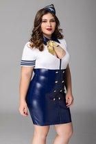 Манящий костюм стюардессы Devon, цвет белый/синий, 2XL - Candy girl