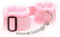 Розовые меховые наручники на регулируемых черных пряжках, цвет розовый - Bioritm