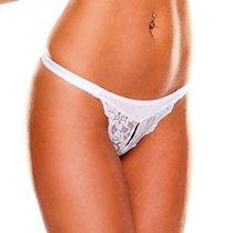 Трусики-тонг Crotchless, цвет белый, XL - Ann Devine
