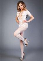 Белый комбинезон c короткими рукавами и имитацией шнуровки на груди, цвет белый - Le Frivole