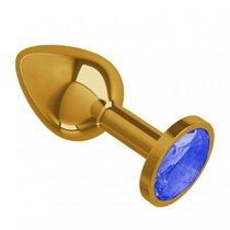 Золотистая анальная пробка с синим кристаллом - 7 см, цвет золотой/синий - МиФ