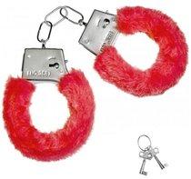 Красные плюшевые наручники с ключиками, цвет красный - Сима-Ленд