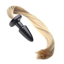 Анальная пробка Blondy с хвостом, цвет белый - Luxurious Tail