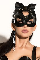 Маска на глаза из материала под винил с ушками, цвет черный - Me Seduce