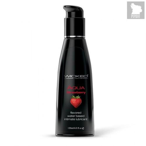 Лубрикант с ароматом клубники WICKED AQUA Strawberry - 120 мл. - Wicked