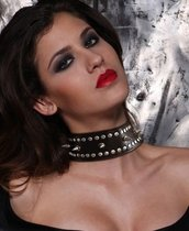 Дерзкий черный ошейник с шипами, цвет черный - Dolce Piccante