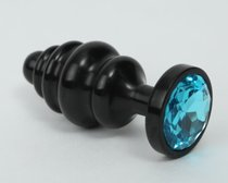Чёрная ребристая анальная пробка с голубым кристаллом - 7,3 см., цвет черный - 4sexdreaM