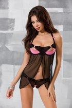 Игривая прозрачная сорочка с полуоткрытым лифом и бантиками Praline, цвет розовый/черный, 2XL-3XL - Passion