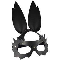 """Черная кожаная маска """"Зайка"""" с длинными ушками, цвет черный - Sitabella"""