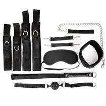 Черный текстильный набор БДСМ: наручники, оковы, ошейник с поводком, кляп, маска, плеть, цвет черный - Bioritm