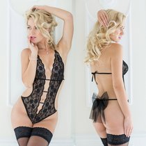 Прозрачное кружевное боди Beth с бантиком сзади, цвет черный, M-L - SoftLine Collection (SLC)