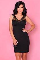Изысканная сорочка Salma с цветочным кружевом, цвет черный, размер S-M - Livia Corsetti