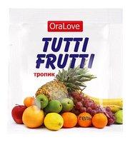 Пробник гель-смазки Tutti-frutti со вкусом тропических фруктов - 4 г - Bioritm