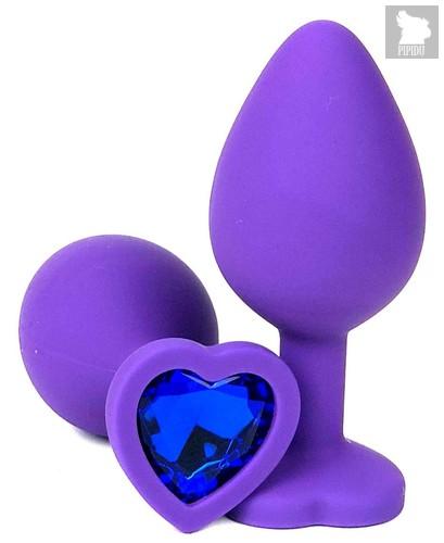 Фиолетовая силиконовая анальная пробка с синим стразом-сердцем - 10,5 см., цвет синий - Vandersex