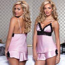 Сорочка с шортиками Diane, цвет розовый, L - Seven`til Midnight