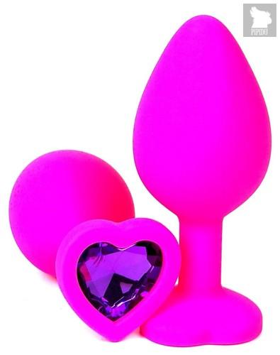Розовая силиконовая пробка с фиолетовым кристаллом-сердцем - 8,5 см., цвет фиолетовый - Vandersex