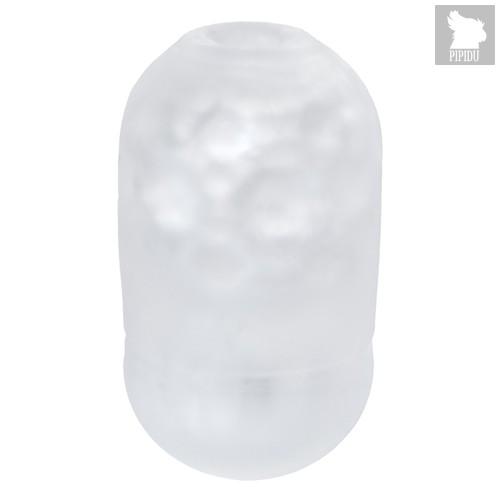 Японский мастурбатор Capsule Trick прозрачный с выпуклыми точками и ребрами, цвет белый - Men's max