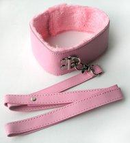 Розовый ошейник с поводком на карабине, цвет розовый - Bioritm