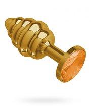 Золотистая пробка с рёбрышками и оранжевым кристаллом - 7 см, цвет золотой/оранжевый - МиФ
