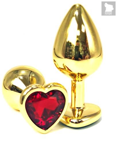 Золотистая анальная пробка с красным кристаллом-сердцем - 6,5 см., цвет красный - Vandersex
