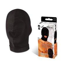 Черная эластичная маска на голову с прорезью для рта - Lux Fetish