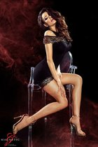 Короткое платье Marissa с цветочной вышивкой, цвет черный, размер L - Demoniq