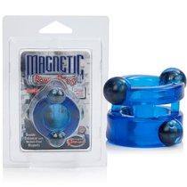 Эрекционное кольцо Magnetic Power Ring с магнитами двойное, цвет голубой - California Exotic Novelties