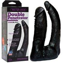 Насадка к трусикам Vac-U-Lock - Double Penetrator, цвет черный - Doc Johnson