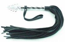 Длинная плеть с рукоятью цвета никель - 66 см - БДСМ арсенал