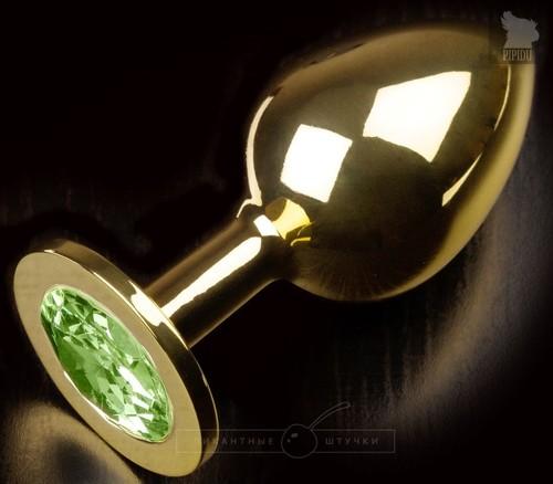 Золотистая анальная пробка с салатовым кристаллом - 9 см., цвет салатовый - Пикантные штучки