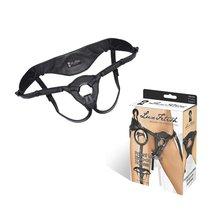 трусики для страпона из патентованной кожи, цвет черный - Lux Fetish
