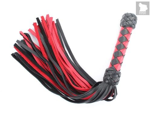 Плеть черно-красная с плетеной ручкой 54040ars - БДСМ арсенал