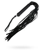 Кожаный флоггер с плетёной ручкой, цвет черный - Подиум