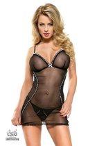 Коротенькая полупрозрачная сорочка Valerie, цвет черный, размер M - Demoniq