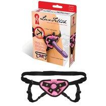 Черно-розовые плюшевые трусики для страпона - Lux Fetish