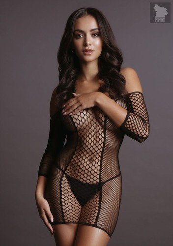 Соблазнительное мини-платье Duo Net Sleeved Mini Dress, цвет черный, S-L - Shots Media