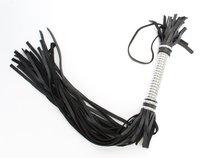 Плеть с серебристой ручкой длинная 54052ars - БДСМ арсенал