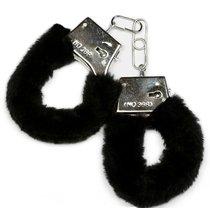 Металлические наручники с черной опушкой и ключиком, цвет черный - Пикантные штучки