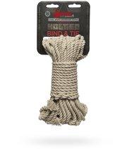 Бондажная пеньковая верёвка Kink Bind Tie Hemp Bondage Rope 50 Ft - 15 м., цвет бежевый/серый - Doc Johnson