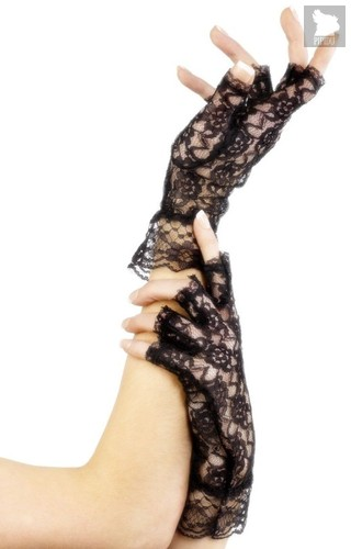 Короткие кружевные перчатки с открытыми пальчиками, цвет черный, S-L - Fever