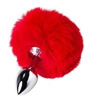 Серебристая анальная втулка TOYFA Metal с красным хвостиком, цвет красный - Toyfa