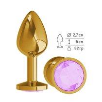 Анальная втулка Gold с сиреневым кристаллом, цвет золотой - МиФ