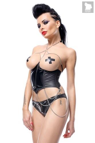 Корсаж под грудь с цепочками Nikoletta, цвет черный, S - Demoniq